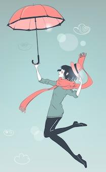 스카프와 함께 행복 한 젊은 여자 우산 비행