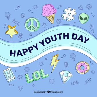 Happy youth day background with different elements