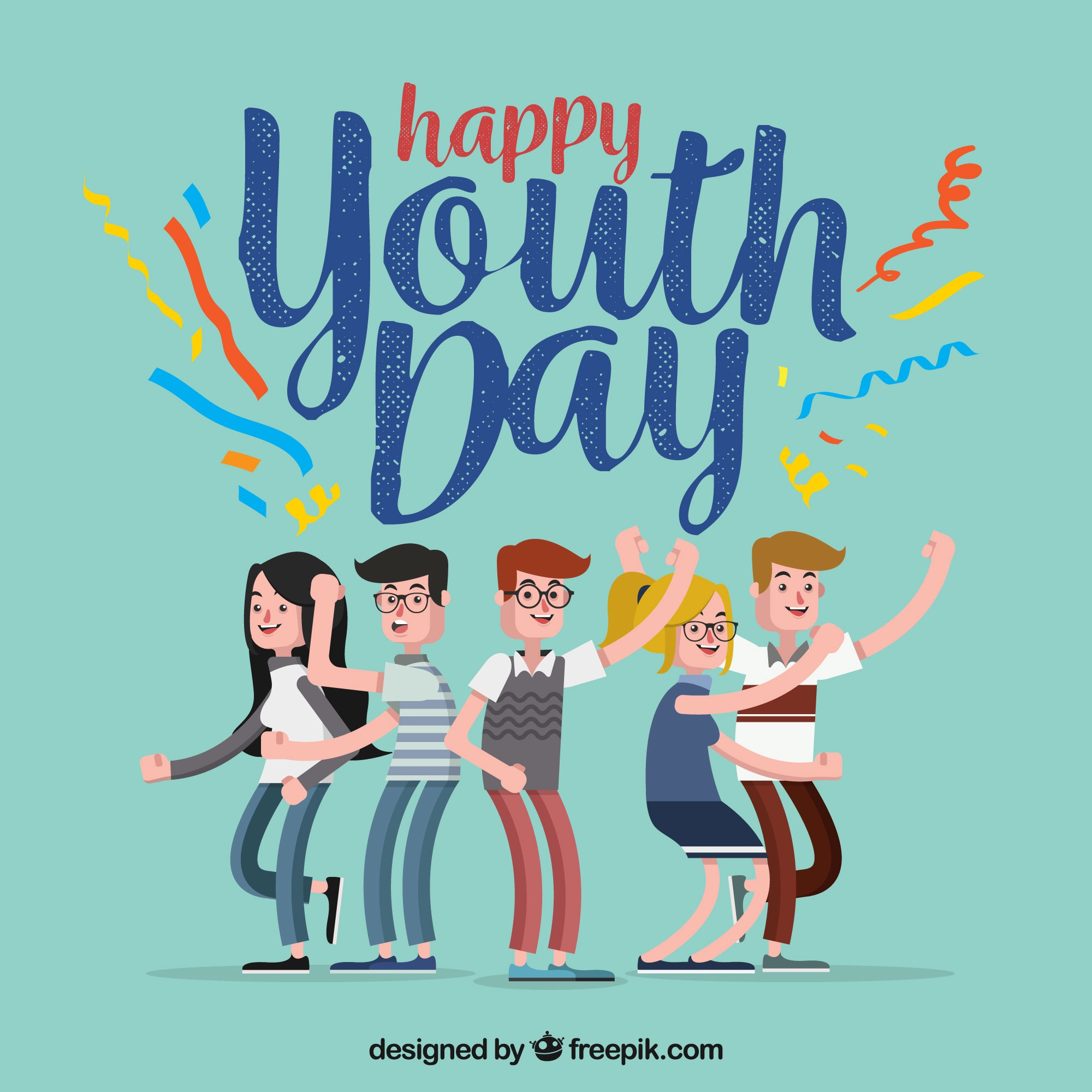 Happy youth day background with kids having fun