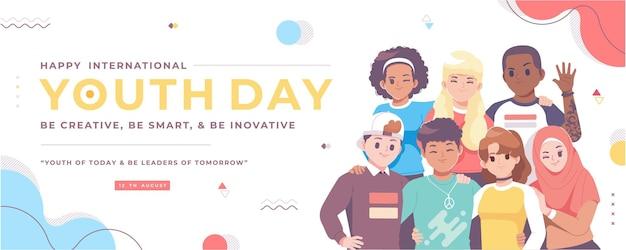 Счастливый день молодежи баннер иллюстрация