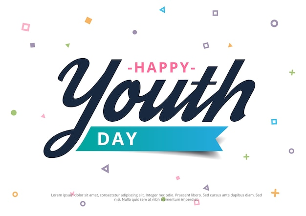 Happy youth day banner with geometrical background