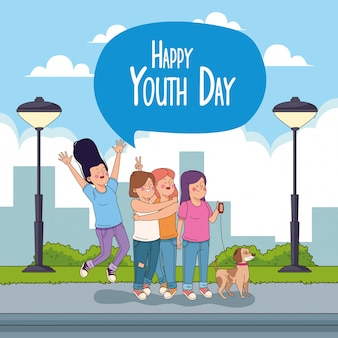 Happy youth day card with teenagers cartoons