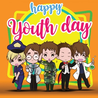 Happy youth day., children in job suit., job concept.