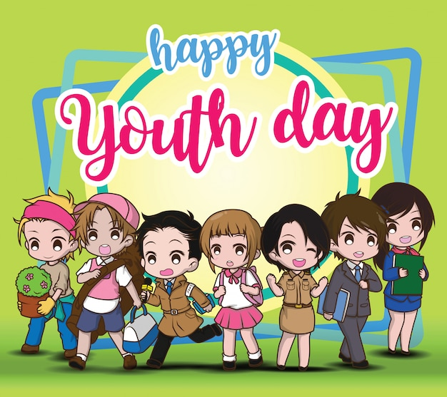 Happy youth day, children in job suit