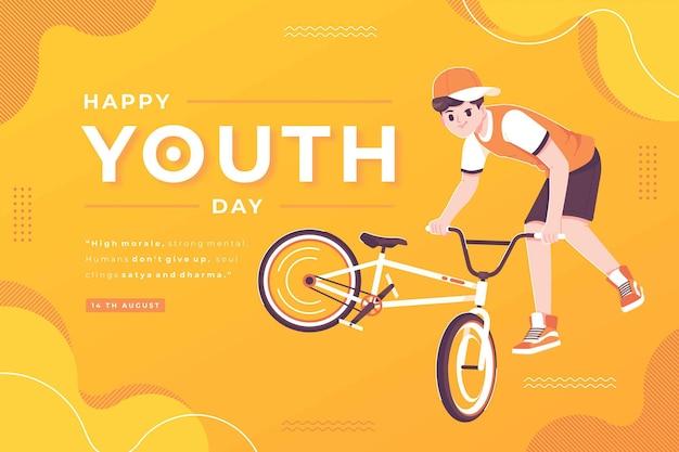 幸せな青年の日のコンセプトイラスト