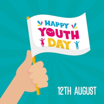 Happy youth day flag