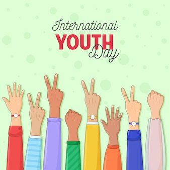 Happy youth day greeting card of diverse color hands colorful young people group concept design of friendship day hands to unity and teamwork success helps  business concept