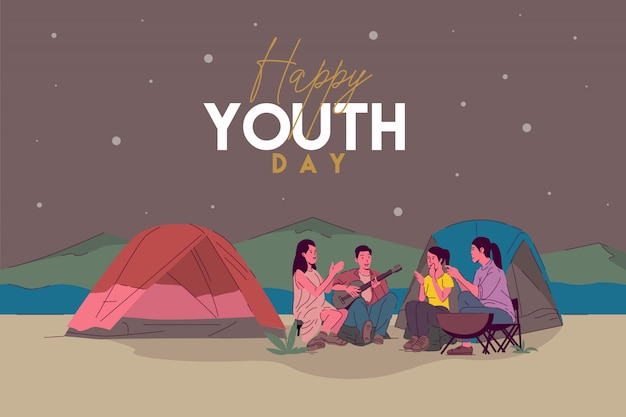 Happy youth day greeting card with illustration