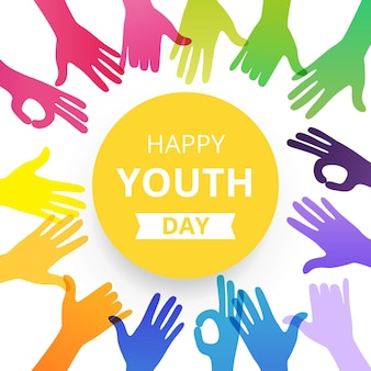 Happy youth day hands silhouettes