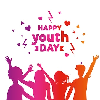 Happy youth day silhouettes