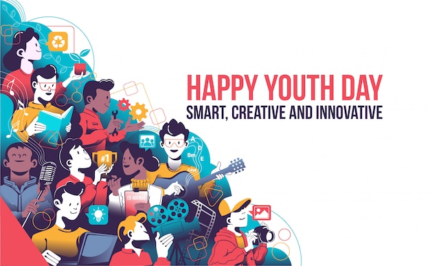 Happy youth day, smart, creative and innovative