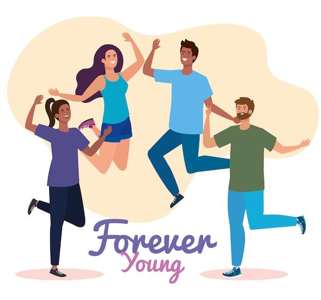 幸せな若者の日、10代の人々のグループ、一緒にお祝いの若者の日