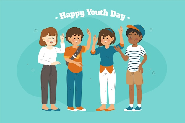 Happy youth day with people