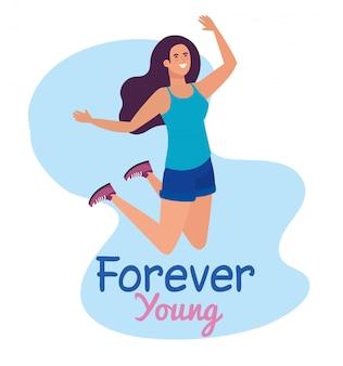 幸せな若者の日、お祝いの若者の日に幸せな若い女性