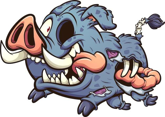 Счастливый кабан-зомби бежит с выходящей кишкой