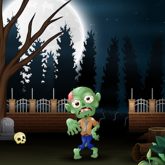Happy zombie in the garden at night