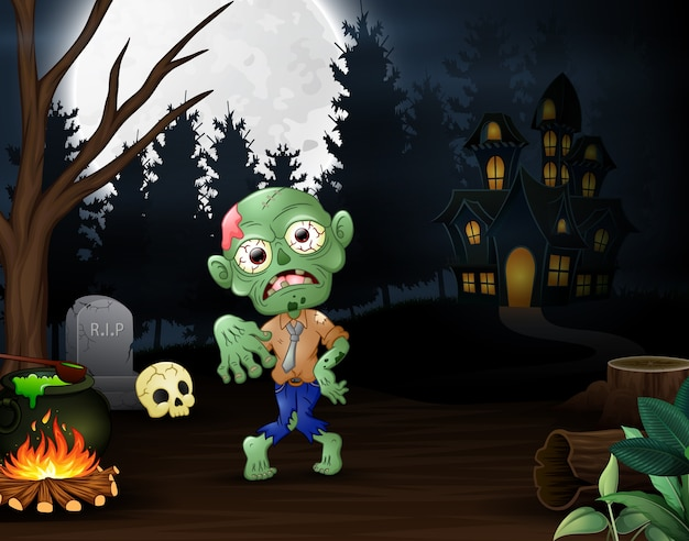 Happy zombie outdoors with haunted house background