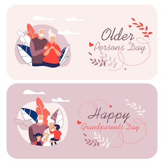 Информационный флаер написано happy бабушка и дедушка мультфильм.