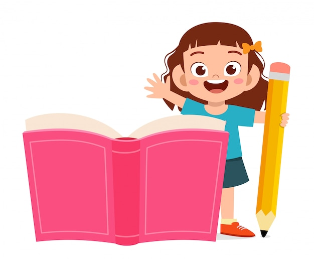 Hapy cute little kid boy with book and pencil