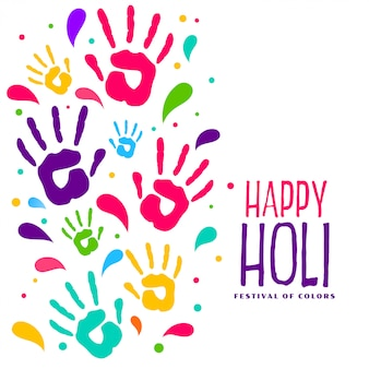 Hapy holi colorful hand prints background
