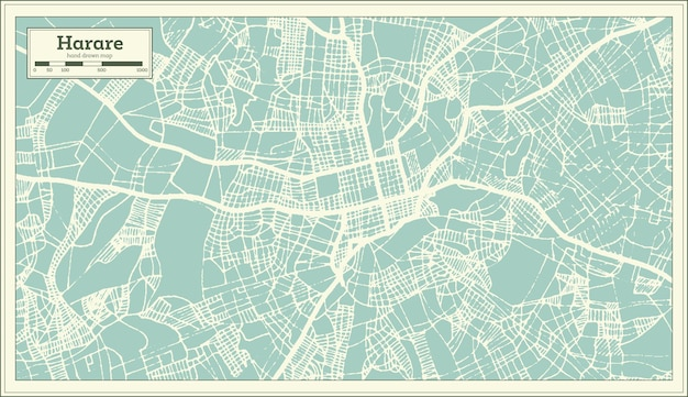 Harare zimbabwe city map in retro style. outline map. vector illustration.