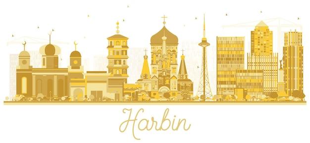 Харбин китай-сити горизонт золотой силуэт. векторная иллюстрация. простая плоская концепция для туристической презентации, баннера, плаката или веб-сайта. концепция деловых поездок. городской пейзаж харбина с достопримечательностями.