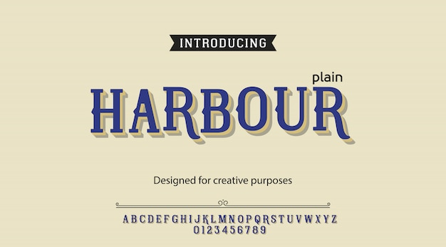 Harbour typeface alphabet
