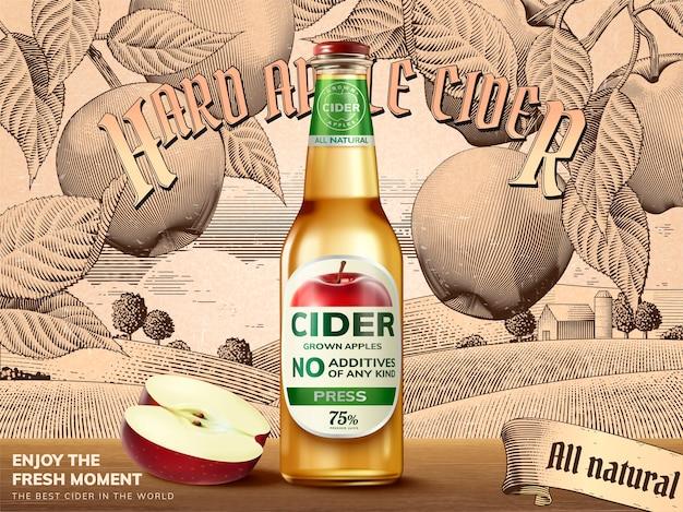 Реклама твердого яблочного сидра, освежающий напиток с реалистичными яблоками и контейнерами на иллюстрации, ретро-гравюра на фоне сельских пейзажей