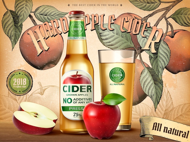 Hard apple cider ads, refreshing beverage with realistic apples and containers in  illustration, retro engraving style background