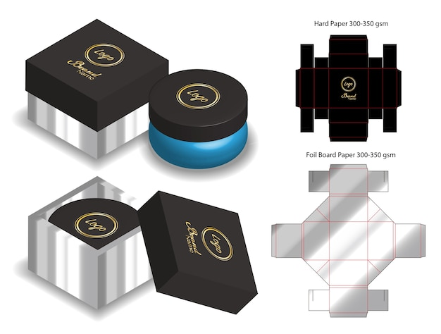 Hard board paper box 3d mockup with dieline
