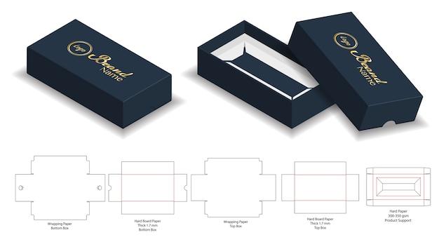 단단한 널 종이 엄밀한 상자 dieline를 가진 3d 모형