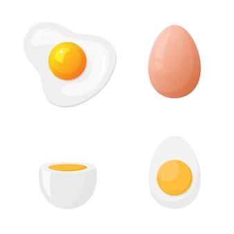 Яйцо, сваренное вкрутую, яйцо всмятку и жареное яйцо в плоском стиле