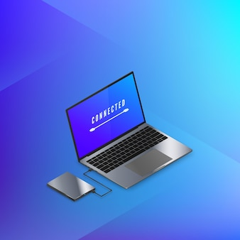 Hard disk drive connected to laptop isometric banner in blue colors. technology.