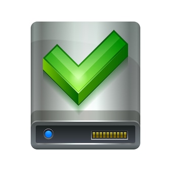 Hard drive disk and ok icon technology device