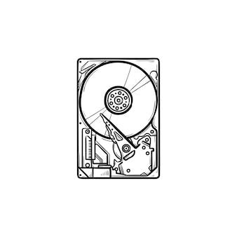 ハードドライブの手描きのアウトライン落書きアイコン。ハードウェアとデータストレージ、pc機器とメモリデバイスの概念