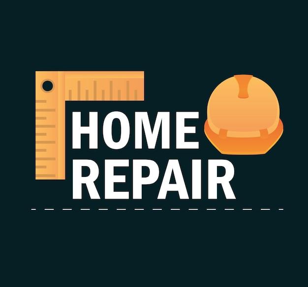 ヘルメットとコーナー定規機器の家の修理