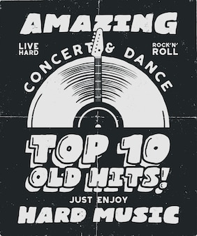 Жесткий музыкальный плакат. концерт и фестиваль tee graphic