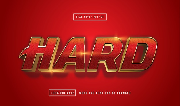 Hard red text effect editable