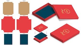 Hard rigid box 3d mockup with dieline template