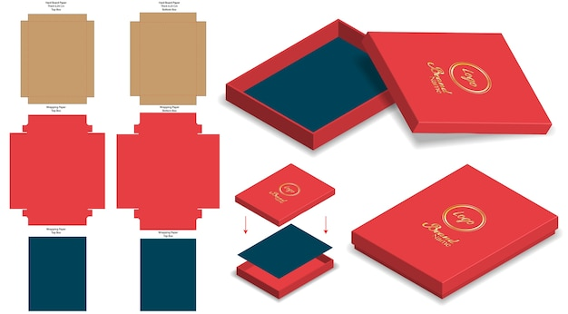 Hard rigid box 3d mockup with dieline template