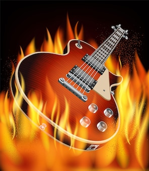 火のギターとハードロックフェスティバルのポスター。