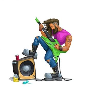 Хард-рок гитарист играет на белом