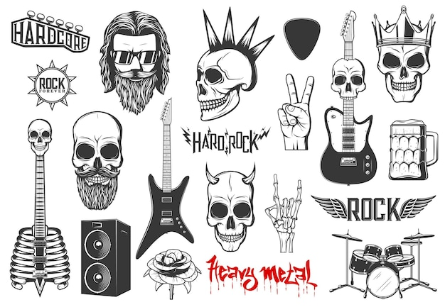 Hard rock music vector icons heavy metal signs