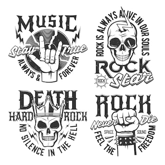 Hard rock skull t-shirt prints, rock music concert vector icons and badges. hard rock music festival and rocker club emblems with skull in crown, fist and vinyl disc, thunderbolt lighting and slogans