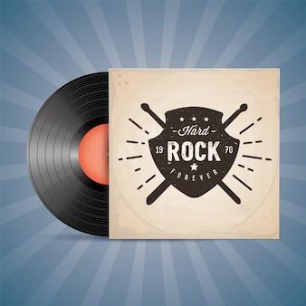 Hard rock. vinyl record label.