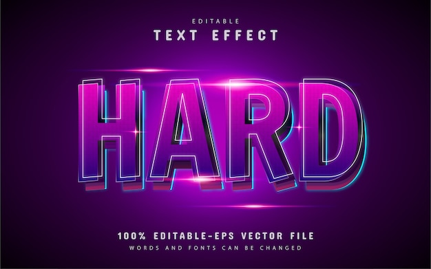 Hard text effect with purple gradient
