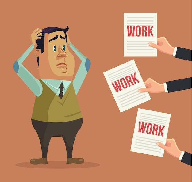 Hard work. busy man character. hands give many works.  flat cartoon illustration