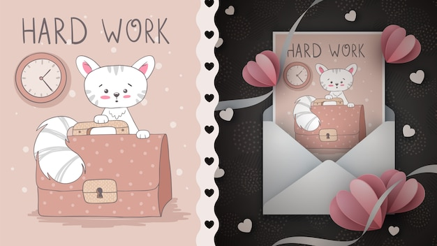 Hard work cat idea for greeting card