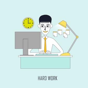 힘든 작업 개념: 사업가는 평평한 선 스타일로 컴퓨터에서 계속 작업합니다.