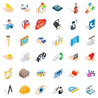Hard work icons set, isometric style